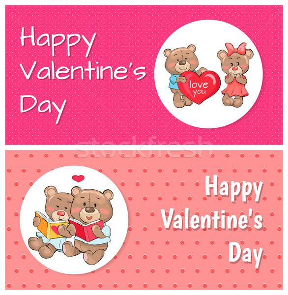 Happy Valentines Day Posters Plush Fluffy Teddies Stock photo © robuart