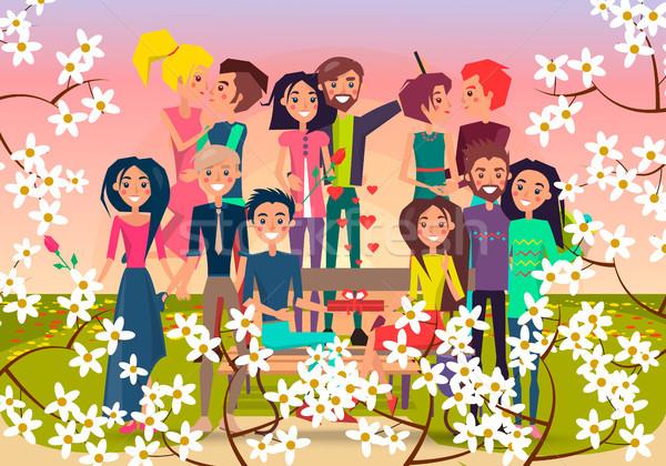 Wiele kochający pary wiosną kwitnienia placu Zdjęcia stock © robuart