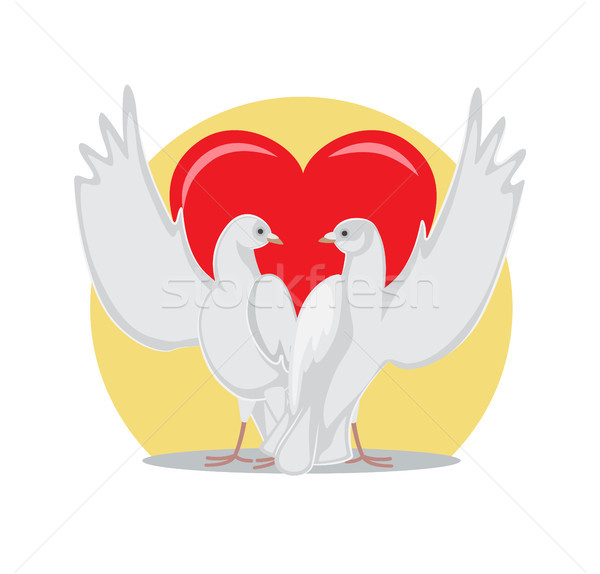 Two Doves Rise Wings Up on Background of Red Heart Stock photo © robuart
