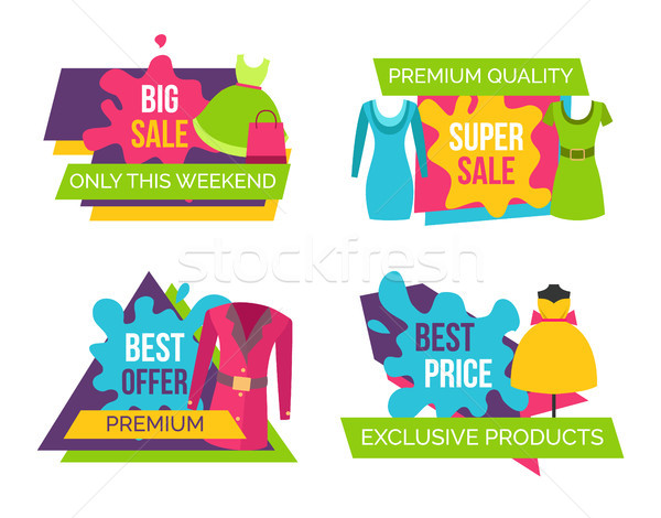 Women Clothing Store Set of Advertising Labels Stock photo © robuart