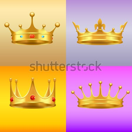 Stock photo: Golden Medieval Symbols Realistic Vector Icons Set