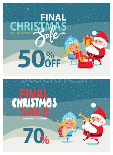 Final Navidad venta vacaciones descuento carteles Foto stock © robuart