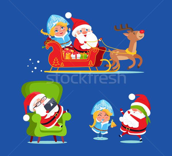 Santa and Snow Maiden Icons Vector Illustration Stock photo © robuart