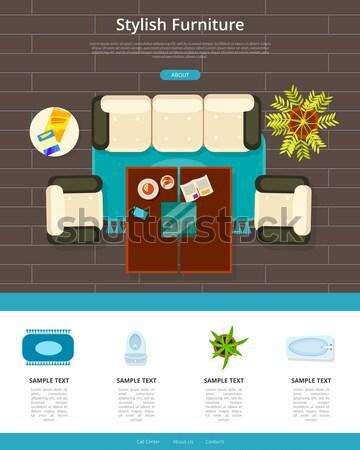 Konyha belső terv tűzhely rozsdamentes mosdókagyló szőnyeg Stock fotó © robuart