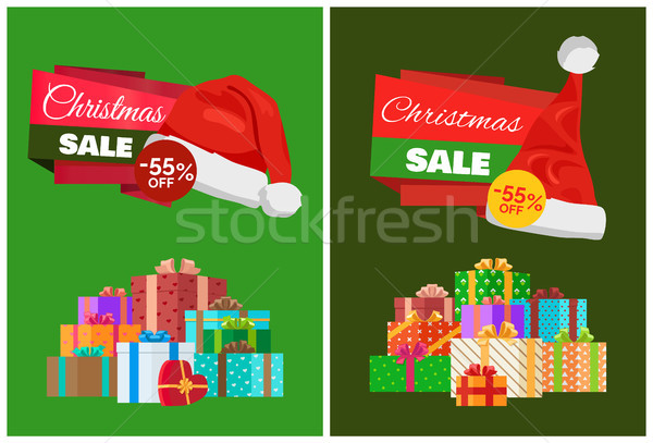 Christmas Sale Promo Sticker with Hat, Advert Text Stock photo © robuart