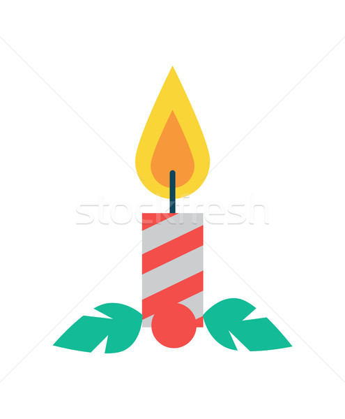 Candle of Red Color Christmas Vector Illustration Stock photo © robuart