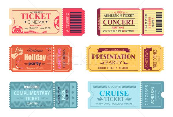 Stockfoto: Tickets · ingesteld · bioscoop · cruise · reis · verjaardag