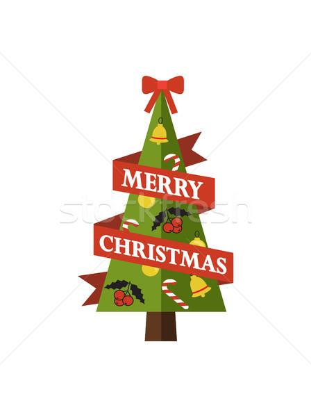 Vrolijk christmas pijnboom afbeelding symbool vakantie Stockfoto © robuart