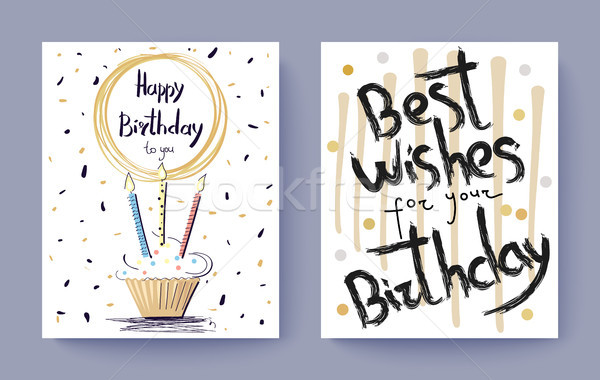 Happy Birthday Best Wishes Congratulation Postcard Stock photo © robuart