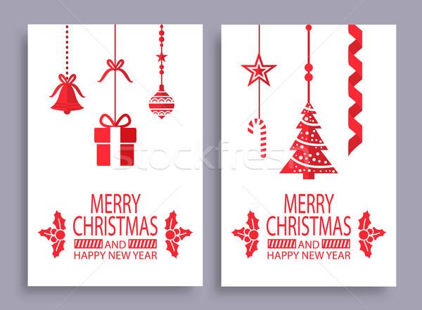 ストックフォト: 陽気な · クリスマス · 明けましておめでとうございます · セット · カード