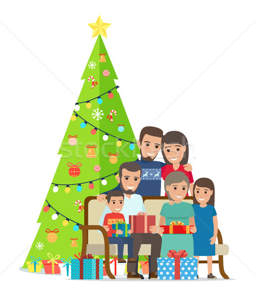 Big Family Gathered Near Christmas Tree with Gifts Stock photo © robuart