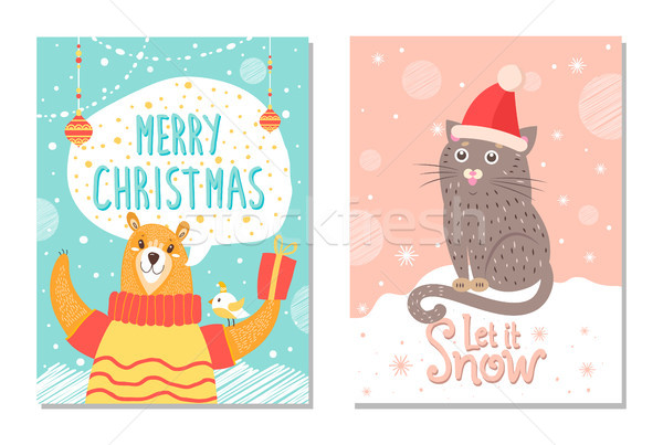 Let it Snow Poster with Bear Gift Box Cat in Hat Stock photo © robuart