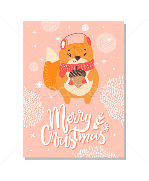 Wesoły christmas tytuł w górę odznaczony Zdjęcia stock © robuart