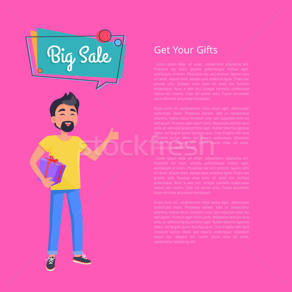 Get your Gifts Big Sale Poster. Man Holds Box Stock photo © robuart