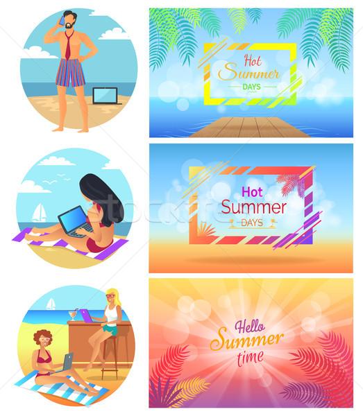 Hola caliente día de verano establecer zona tropical marcos Foto stock © robuart
