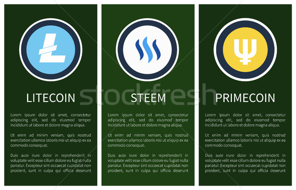 Cryptocurrency Icons on Vertical Promo Posters Set Stock photo © robuart