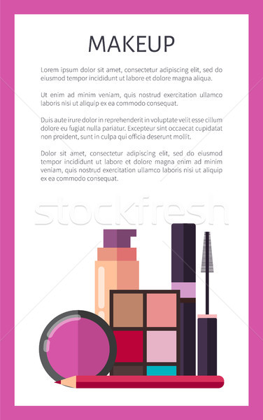 Makeup Elements on Promotional Vertical Poster Stock photo © robuart