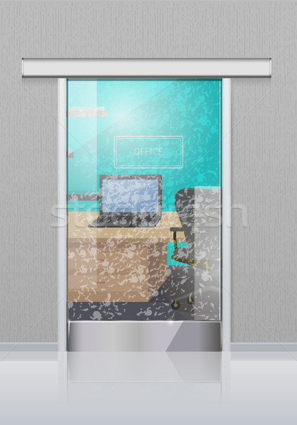 Transparent Office Glass Door to Study with Laptop Stock photo © robuart