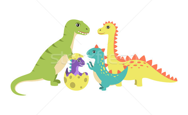 Dinosaurs Collection and Egg Vector Illustration Stock photo © robuart