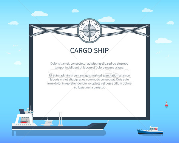 Long Cargo Ship Colorful Card Vector Illustration Stock photo © robuart