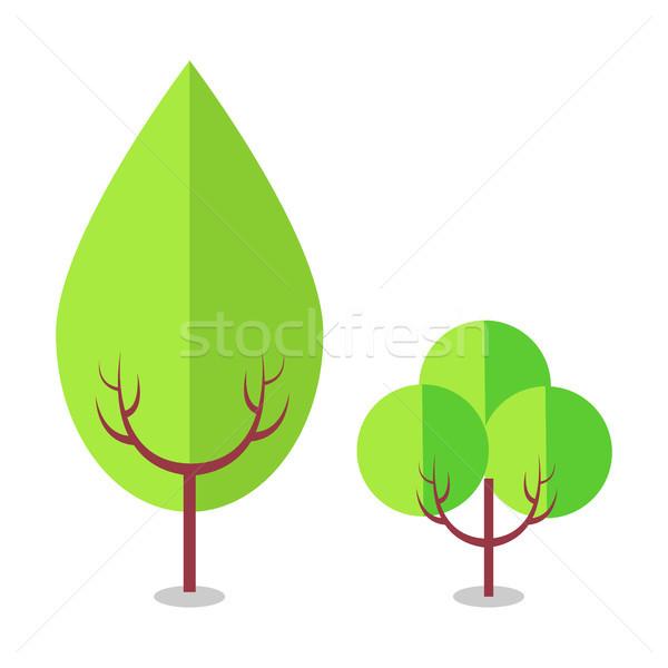 Stock photo: Flat Tree Icons Isolated on White, Vector Illustration