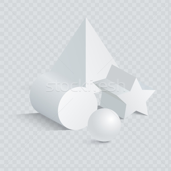 Triangular and Pentagrammic Prism with Sphere 3D Stock photo © robuart
