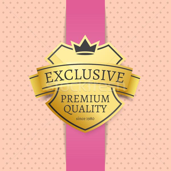 Złoty etykiety ekskluzywny premia jakości 1980 Zdjęcia stock © robuart