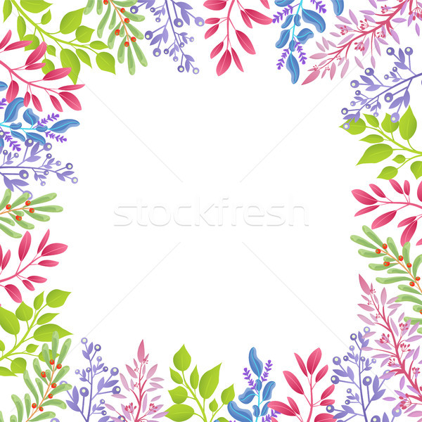 Branches of Spring Plants As Frame for Banner Stock photo © robuart