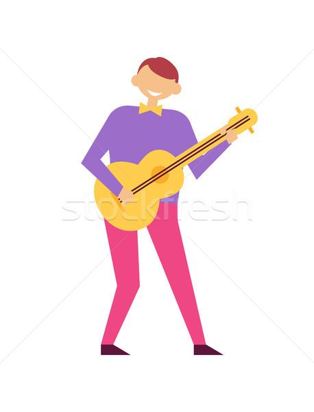 Homem jogar guitarra festa de aniversário vetor isolado Foto stock © robuart