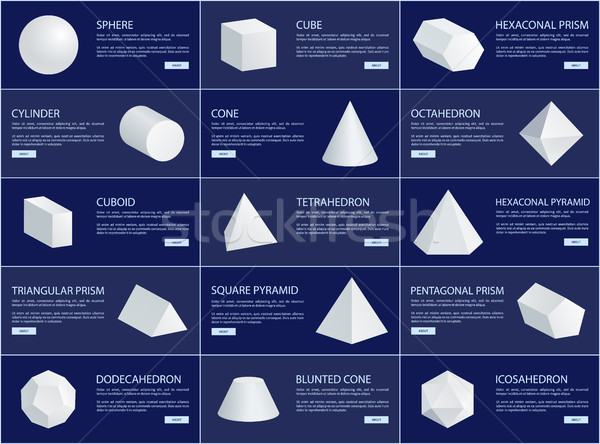 Cube and Sphere Cone and Cuboid Prisms Collection Stock photo © robuart