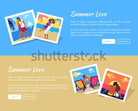 Summer Love Photos with Texts Vector Web Banner Stock photo © robuart