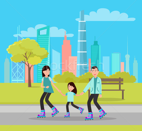 Happy Family Roller Skating City Park Skyscrapers Stock photo © robuart