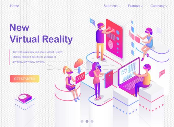 ストックフォト: 新しい · バーチャル · インターネット · バナー · 現実