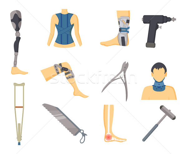 Orthopedics Tools and Instruments Colorful Poster Stock photo © robuart