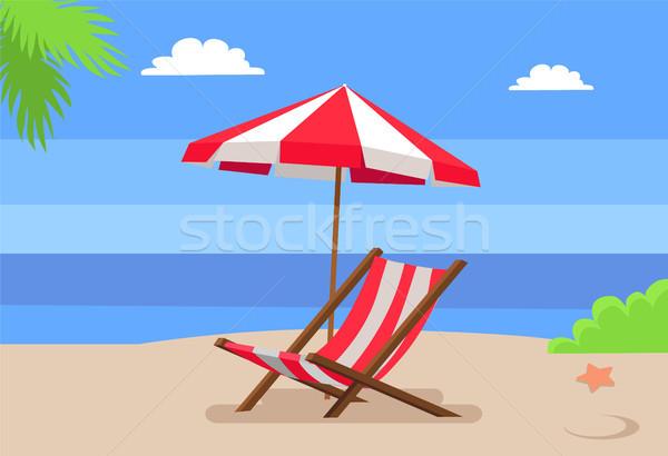 Seaside and Hammock-Chair Under Umbrella Palm Tree Stock photo © robuart