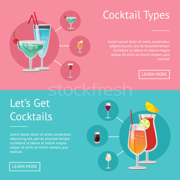 Cocktail Types Lets Get Cocktails Set of Posters Stock photo © robuart