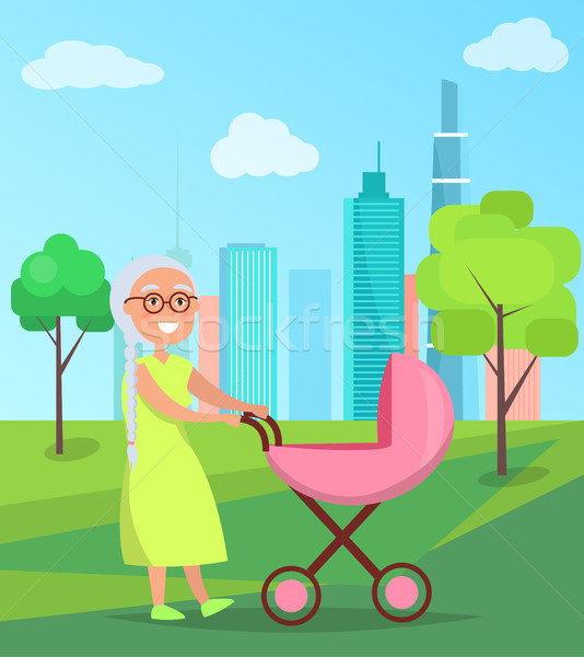 Grandmother Walk with Newborn Girl in Stroller Stock photo © robuart
