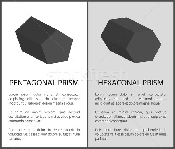 Pentagonal and Hexagonal Prisms on Posters Text Stock photo © robuart