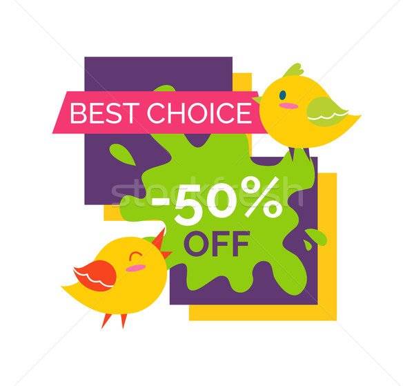 Best choice 50 off sale label with singing small birds, Stock photo © robuart
