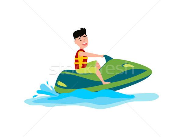 Jet Ski Summer Activity Sea Vector Illustration Stock photo © robuart