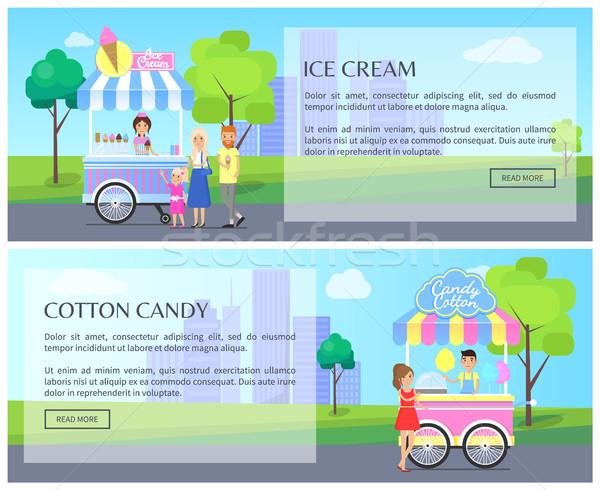 Crème glacée coton bonbons ensemble web ligne Photo stock © robuart