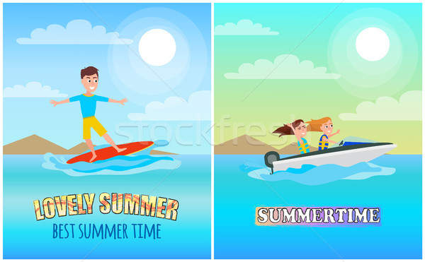 Best Summer Time Color Poster, Vector Illustration Stock photo © robuart