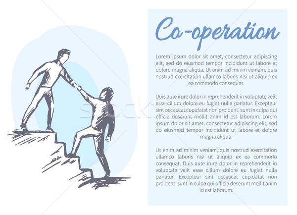 Coopération affiche texte échantillon mutuelle aider Photo stock © robuart