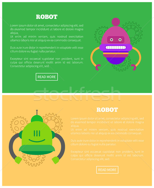Robot Set with Text Samples Vector Illustration Stock photo © robuart