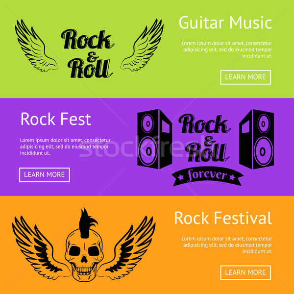 Rock Music Collection of Creative Colorful Posters Stock photo © robuart