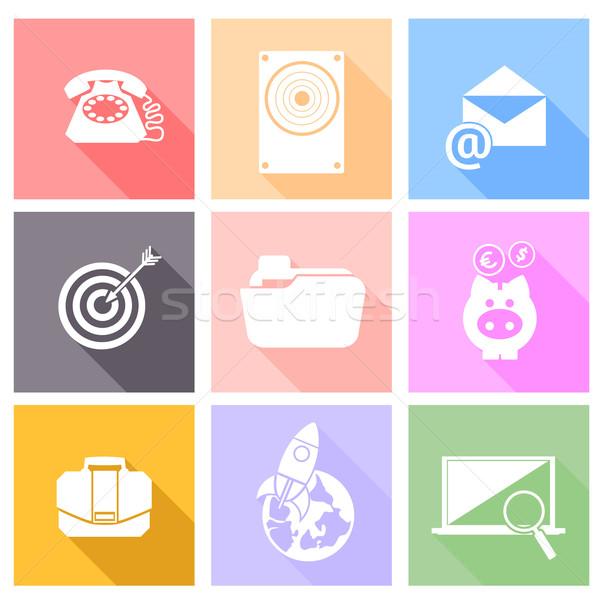 Stock fotó: Szett · ikonok · háló · mobil · applikációk · modern