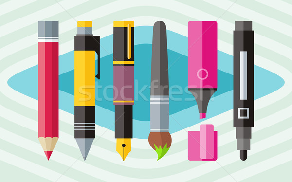 Big set engineering office pens and pencils Stock photo © robuart