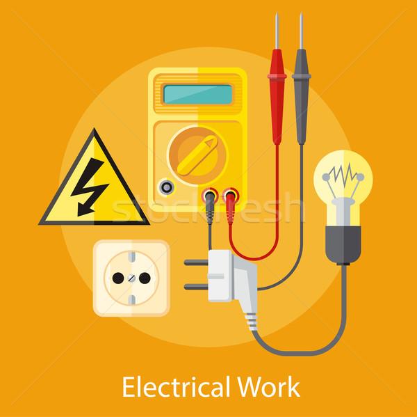 Elektryczne pracy gniazdo analiza sieci Zdjęcia stock © robuart