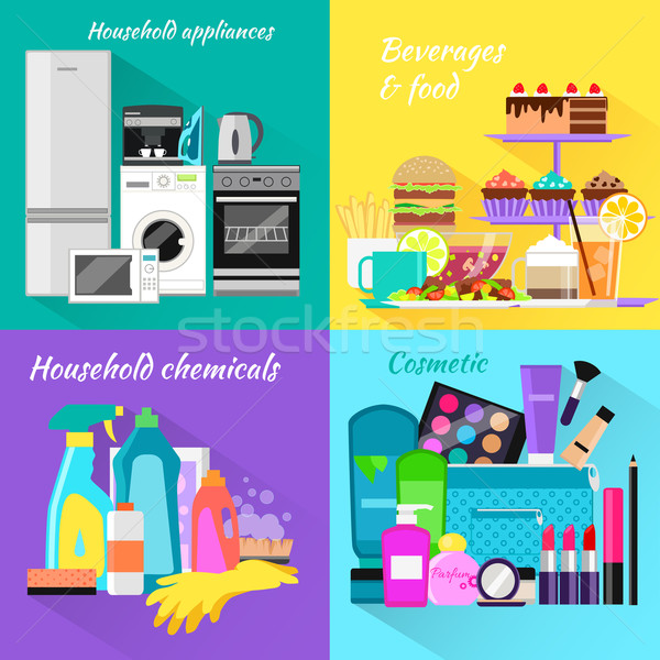 Stock photo: Household and Beverages Food Cosmetic