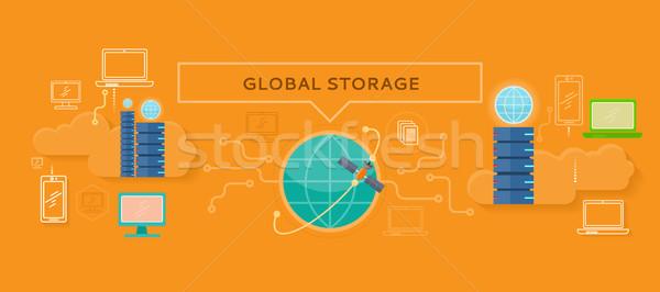 Global Storage Design Flat Concept Stock photo © robuart